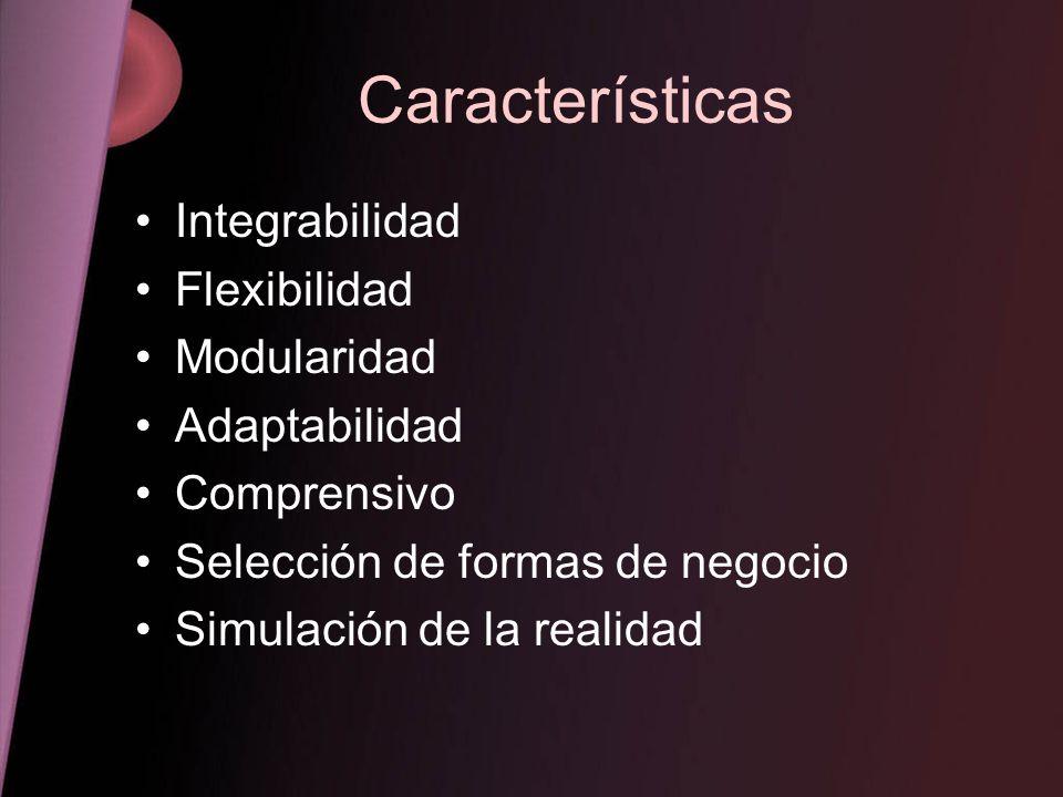 Características Integrabilidad Flexibilidad Modularidad Adaptabilidad Comprensivo Selección de formas de negocio Simulación de la realidad