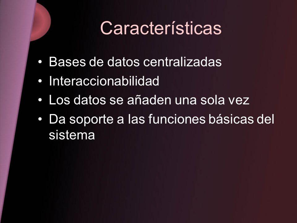 Características Bases de datos centralizadas Interaccionabilidad Los datos se añaden una sola vez Da soporte a las funciones básicas del sistema