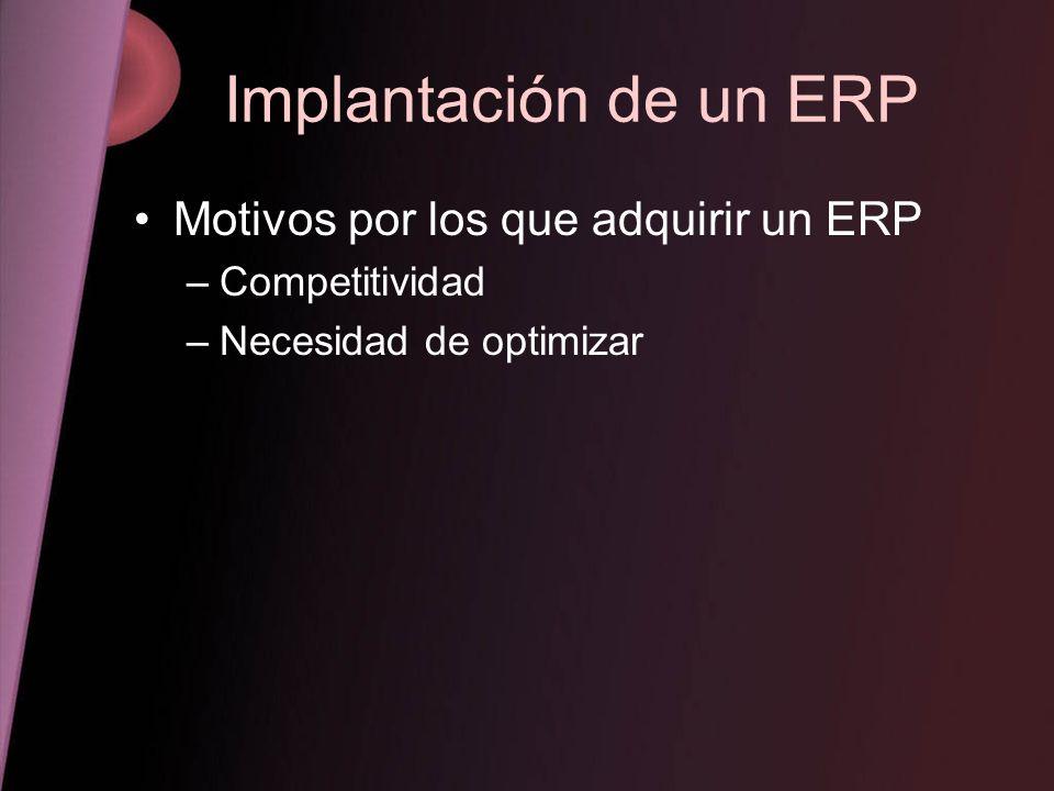 Implantación de un ERP Motivos por los que adquirir un ERP –Competitividad –Necesidad de optimizar