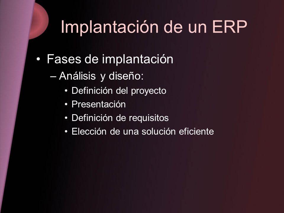 Implantación de un ERP Fases de implantación –Análisis y diseño: Definición del proyecto Presentación Definición de requisitos Elección de una solució