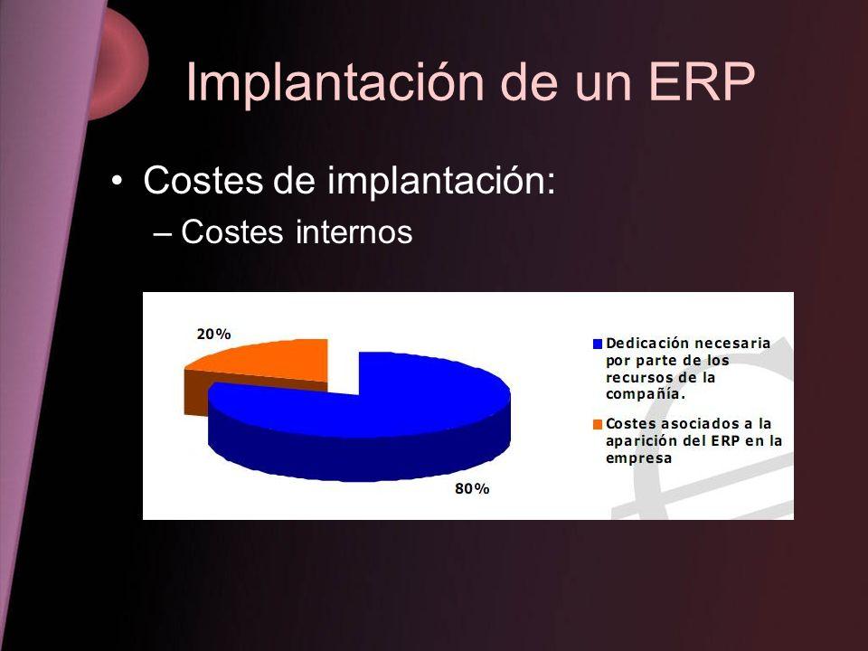 Implantación de un ERP Aspectos para el éxito –La dirección debe liderar la implantación –Usuarios adecuadamente formados –Campaña formativa –Definirse los objetivos –Recursos técnicos –Software bien desarrollado –Estudiar las necesidades de la empresa