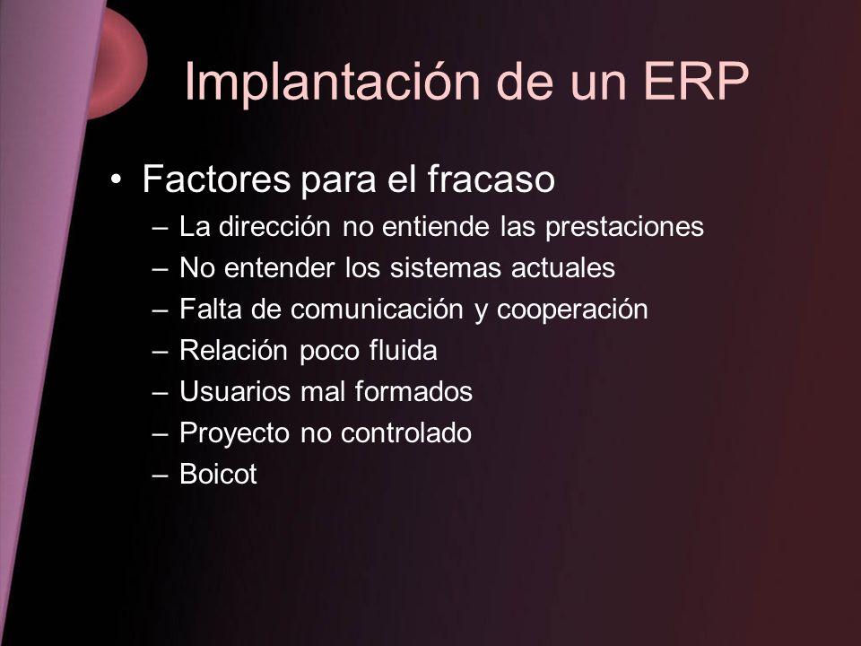 Implantación de un ERP Factores para el fracaso –La dirección no entiende las prestaciones –No entender los sistemas actuales –Falta de comunicación y