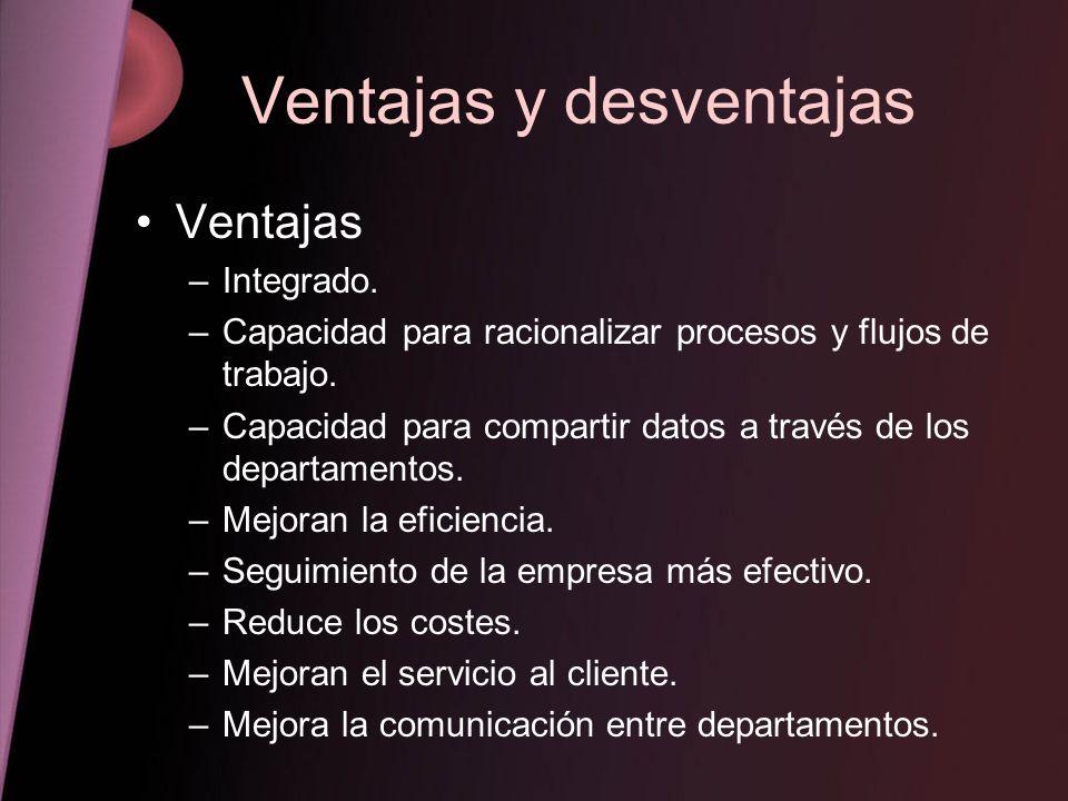 Ventajas y desventajas Ventajas –Integrado. –Capacidad para racionalizar procesos y flujos de trabajo. –Capacidad para compartir datos a través de los