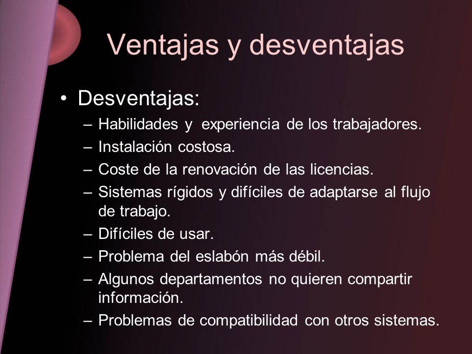 Ventajas y desventajas Desventajas: –Habilidades y experiencia de los trabajadores. –Instalación costosa. –Coste de la renovación de las licencias. –S
