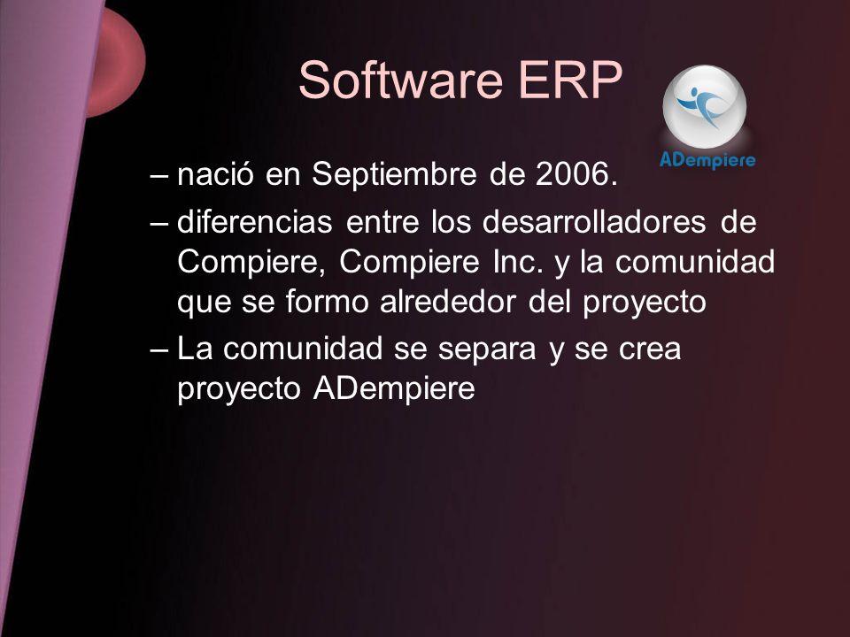 Software ERP –nació en Septiembre de 2006. –diferencias entre los desarrolladores de Compiere, Compiere Inc. y la comunidad que se formo alrededor del