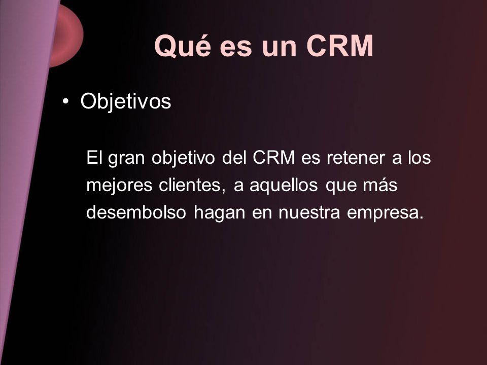 Qué es un CRM Objetivos El gran objetivo del CRM es retener a los mejores clientes, a aquellos que más desembolso hagan en nuestra empresa.