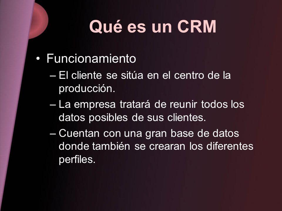 Qué es un CRM Funcionamiento –El cliente se sitúa en el centro de la producción. –La empresa tratará de reunir todos los datos posibles de sus cliente
