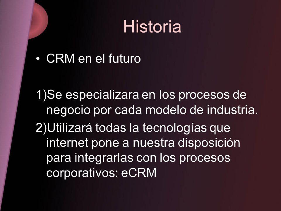 Historia CRM en el futuro 1)Se especializara en los procesos de negocio por cada modelo de industria. 2)Utilizará todas la tecnologías que internet po