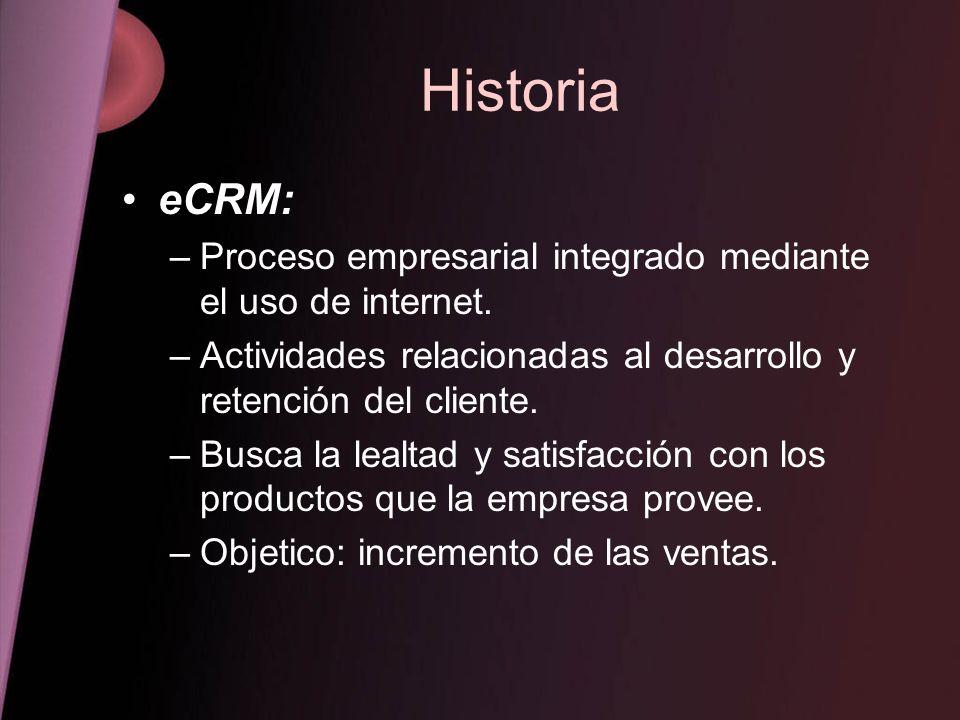 Historia eCRM: –Proceso empresarial integrado mediante el uso de internet. –Actividades relacionadas al desarrollo y retención del cliente. –Busca la