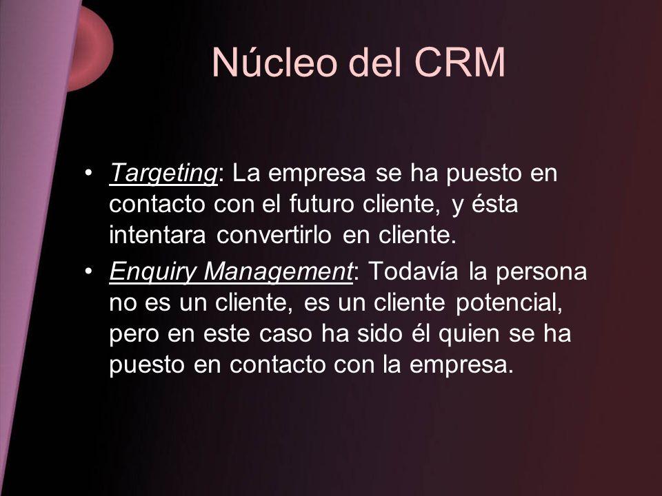 Núcleo del CRM Targeting: La empresa se ha puesto en contacto con el futuro cliente, y ésta intentara convertirlo en cliente. Enquiry Management: Toda
