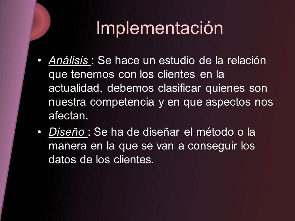 Implementación Análisis : Se hace un estudio de la relación que tenemos con los clientes en la actualidad, debemos clasificar quienes son nuestra comp