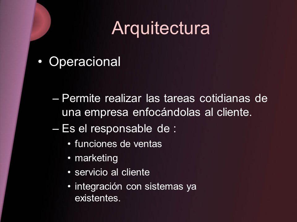 Operacional –Permite realizar las tareas cotidianas de una empresa enfocándolas al cliente. –Es el responsable de : funciones de ventas marketing serv