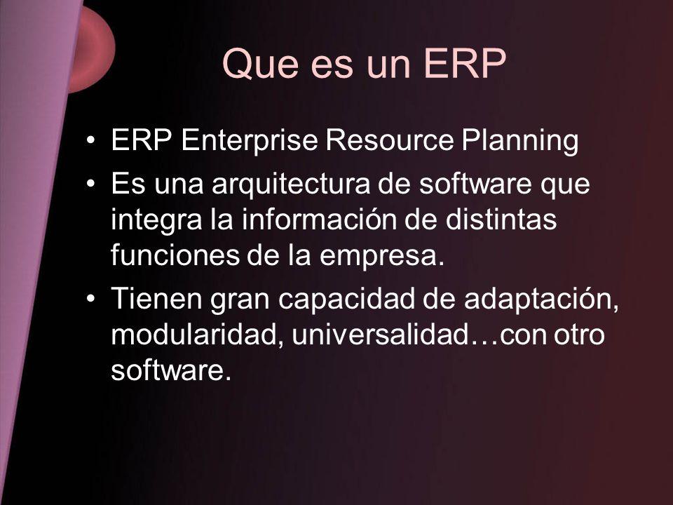 Que es un ERP ERP Enterprise Resource Planning Es una arquitectura de software que integra la información de distintas funciones de la empresa. Tienen