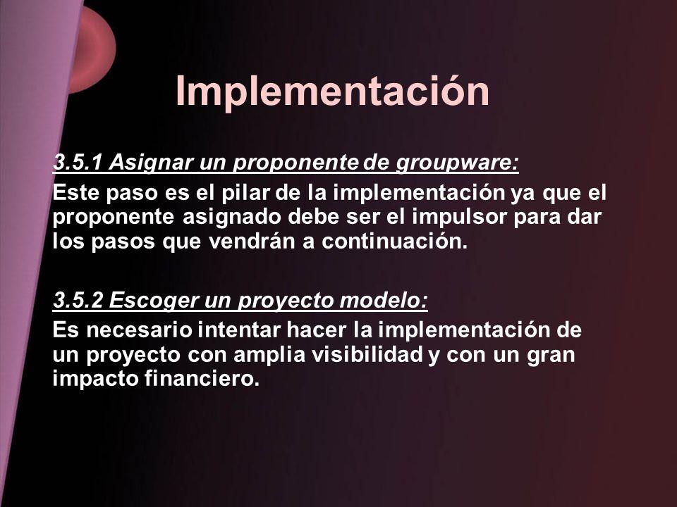 Implementación 3.5.1 Asignar un proponente de groupware: Este paso es el pilar de la implementación ya que el proponente asignado debe ser el impulsor