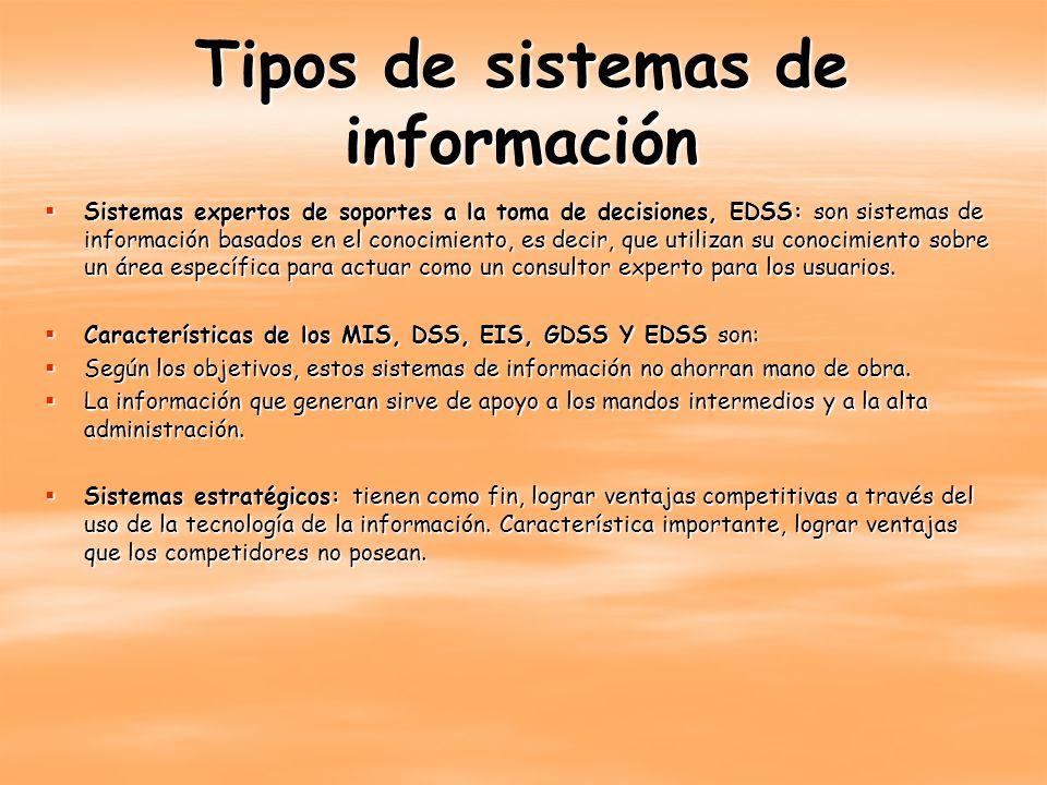 Tipos de sistemas de información Sistemas expertos de soportes a la toma de decisiones, EDSS: son sistemas de información basados en el conocimiento,