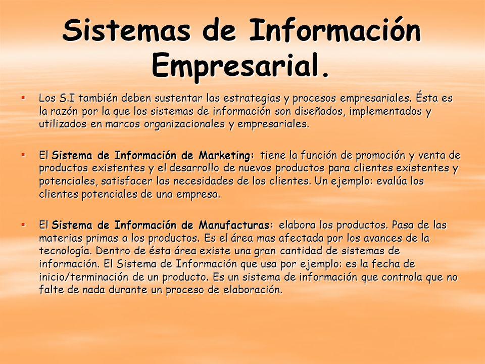 Sistemas de Información Empresarial. Los S.I también deben sustentar las estrategias y procesos empresariales. Ésta es la razón por la que los sistema