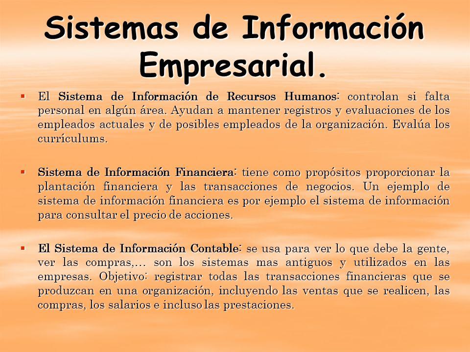 Sistemas de Información Empresarial. El Sistema de Información de Recursos Humanos: controlan si falta personal en algún área. Ayudan a mantener regis