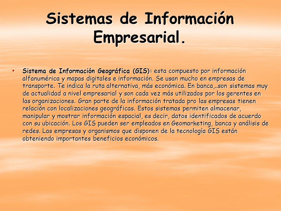 Sistemas de Información Empresarial. Sistema de Información Geográfica (GIS): esta compuesto por información alfanumérica y mapas digitales e informac