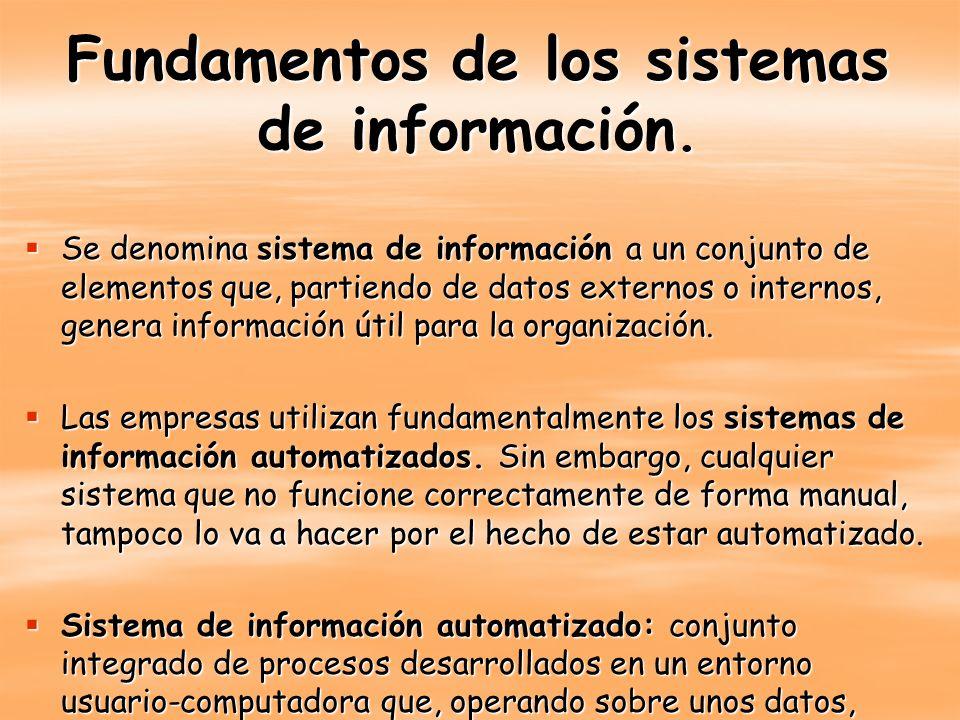 Fundamentos de los sistemas de información. Se denomina sistema de información a un conjunto de elementos que, partiendo de datos externos o internos,