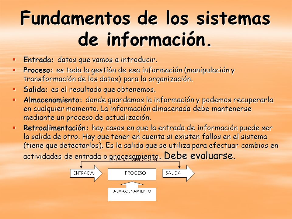 Fundamentos de los sistemas de información. Entrada: datos que vamos a introducir. Entrada: datos que vamos a introducir. Proceso: es toda la gestión