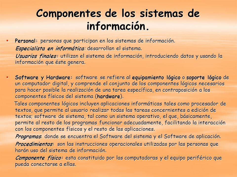 Componentes de los sistemas de información. Personal: personas que participan en los sistemas de información. Personal: personas que participan en los
