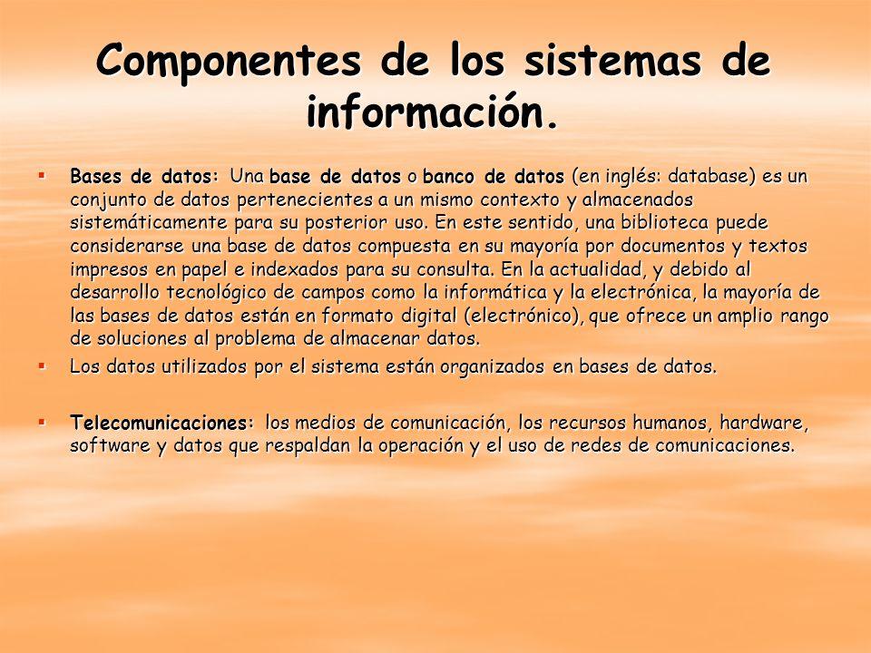 Componentes de los sistemas de información. Bases de datos: Una base de datos o banco de datos (en inglés: database) es un conjunto de datos perteneci