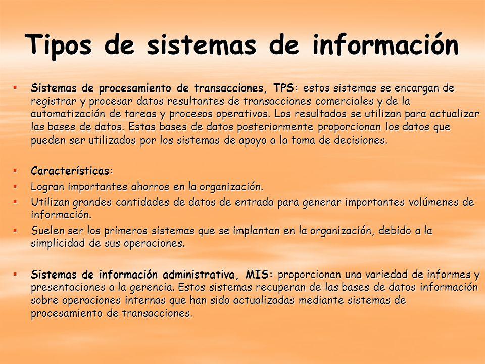 Tipos de sistemas de información Sistemas de procesamiento de transacciones, TPS: estos sistemas se encargan de registrar y procesar datos resultantes