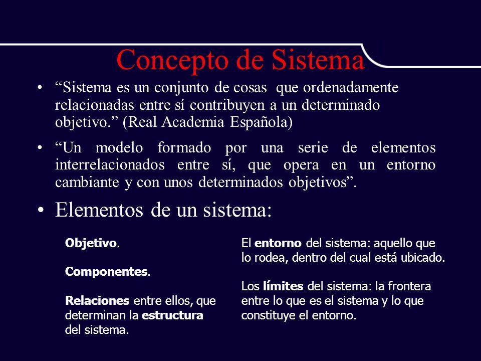 Concepto de Sistema Sistema es un conjunto de cosas que ordenadamente relacionadas entre sí contribuyen a un determinado objetivo. (Real Academia Espa