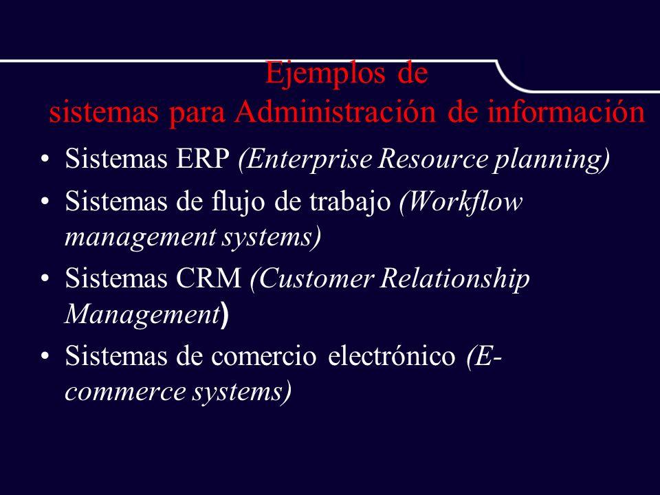 Ejemplos de sistemas para Administración de información Sistemas ERP (Enterprise Resource planning) Sistemas de flujo de trabajo (Workflow management
