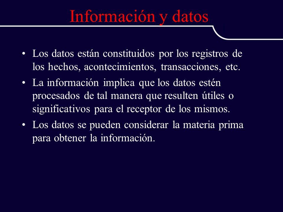 Información y datos Los datos están constituidos por los registros de los hechos, acontecimientos, transacciones, etc. La información implica que los