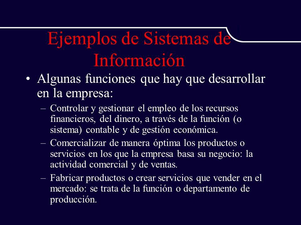 Ejemplos de Sistemas de Información Algunas funciones que hay que desarrollar en la empresa: –Controlar y gestionar el empleo de los recursos financie