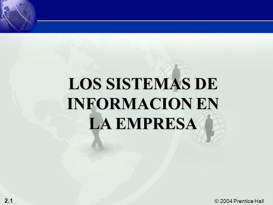 2.1 © 2004 Prentice Hall Sistemas de Información Gerencial 8/e Capítulo 2: Sistemas de Información en la Empresa LOS SISTEMAS DE INFORMACION EN LA EMP