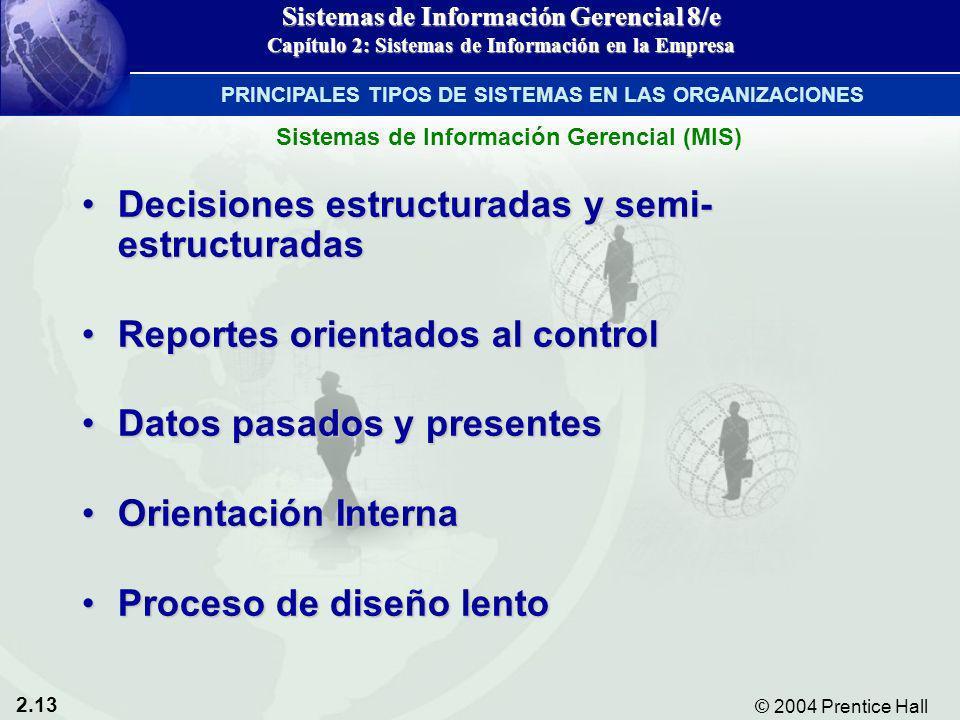 2.13 © 2004 Prentice Hall Sistemas de Información Gerencial 8/e Capítulo 2: Sistemas de Información en la Empresa Decisiones estructuradas y semi- est