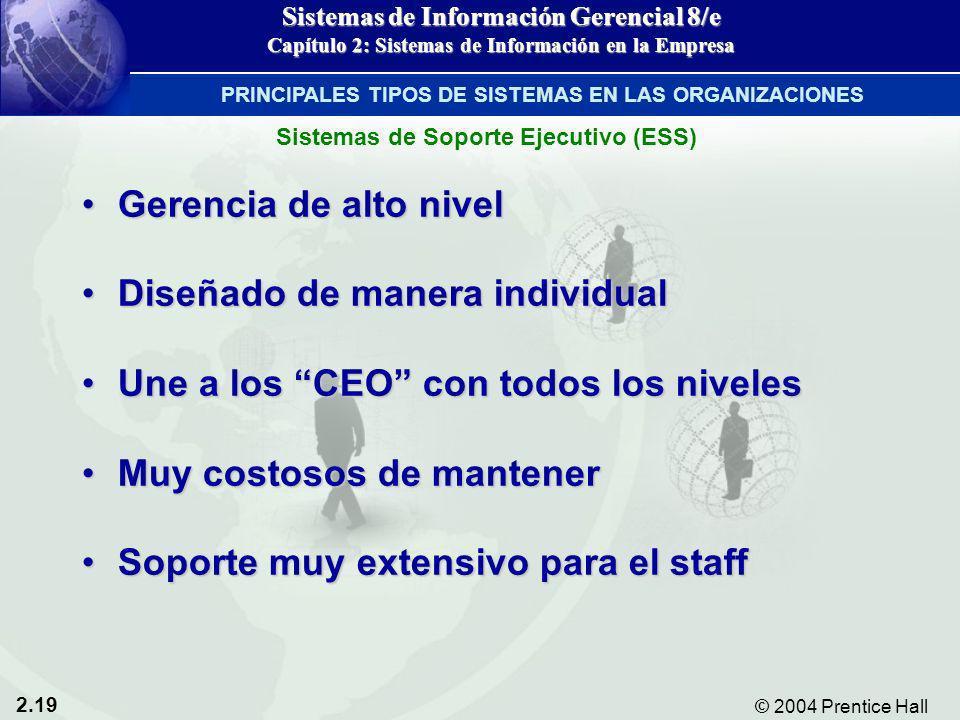 2.19 © 2004 Prentice Hall Sistemas de Información Gerencial 8/e Capítulo 2: Sistemas de Información en la Empresa Gerencia de alto nivelGerencia de al