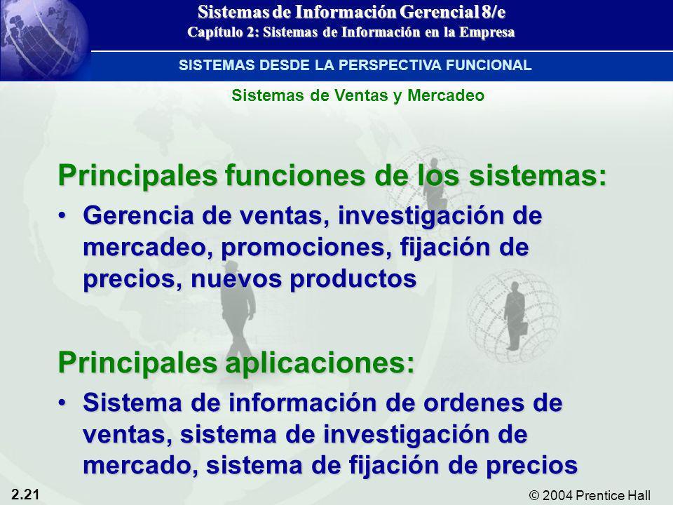 2.21 © 2004 Prentice Hall Sistemas de Información Gerencial 8/e Capítulo 2: Sistemas de Información en la Empresa Principales funciones de los sistema