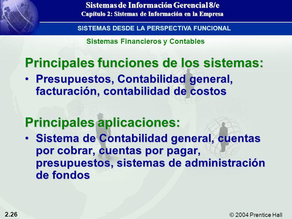 2.26 © 2004 Prentice Hall Sistemas de Información Gerencial 8/e Capítulo 2: Sistemas de Información en la Empresa Principales funciones de los sistema