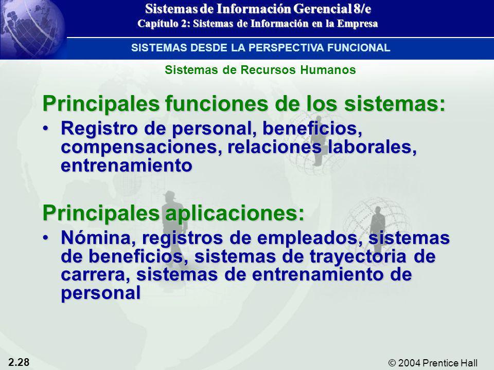 2.28 © 2004 Prentice Hall Sistemas de Información Gerencial 8/e Capítulo 2: Sistemas de Información en la Empresa Principales funciones de los sistema