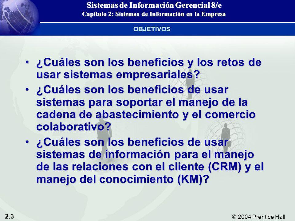 2.3 © 2004 Prentice Hall Sistemas de Información Gerencial 8/e Capítulo 2: Sistemas de Información en la Empresa ¿Cuáles son los beneficios y los reto