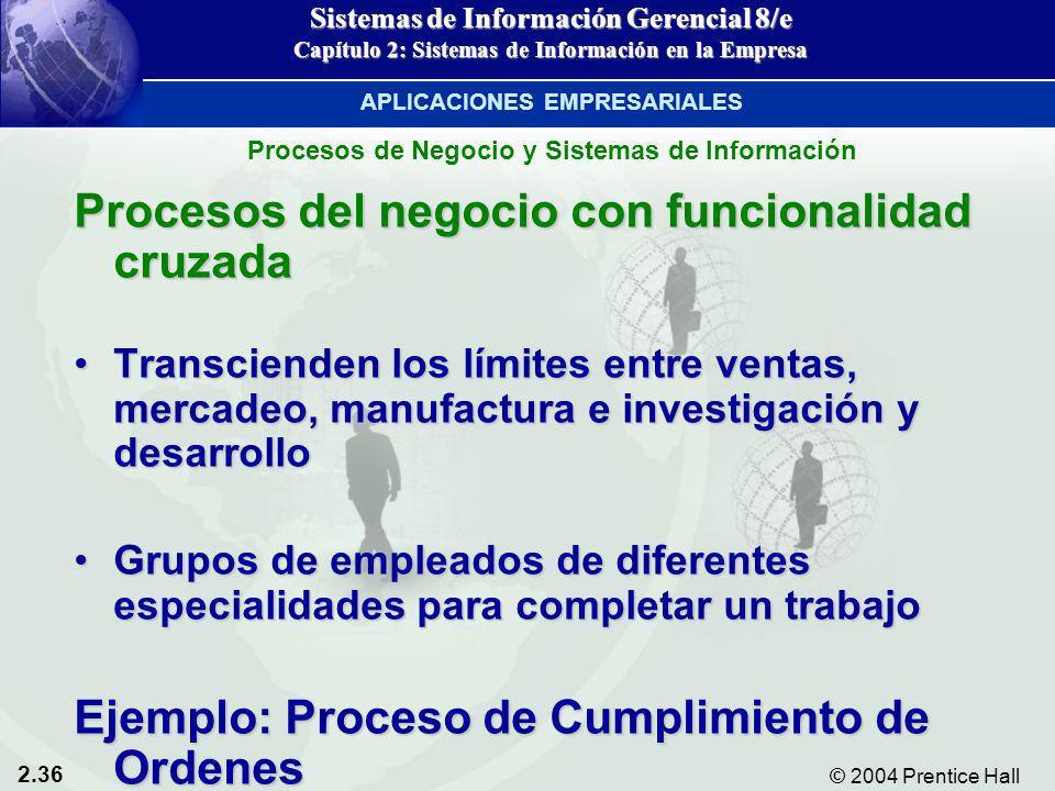 2.36 © 2004 Prentice Hall Sistemas de Información Gerencial 8/e Capítulo 2: Sistemas de Información en la Empresa Procesos del negocio con funcionalid