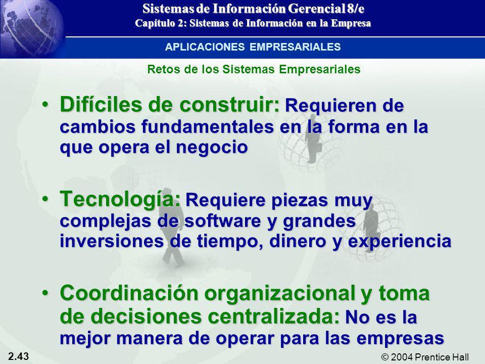 2.43 © 2004 Prentice Hall Sistemas de Información Gerencial 8/e Capítulo 2: Sistemas de Información en la Empresa Difíciles de construir: Requieren de