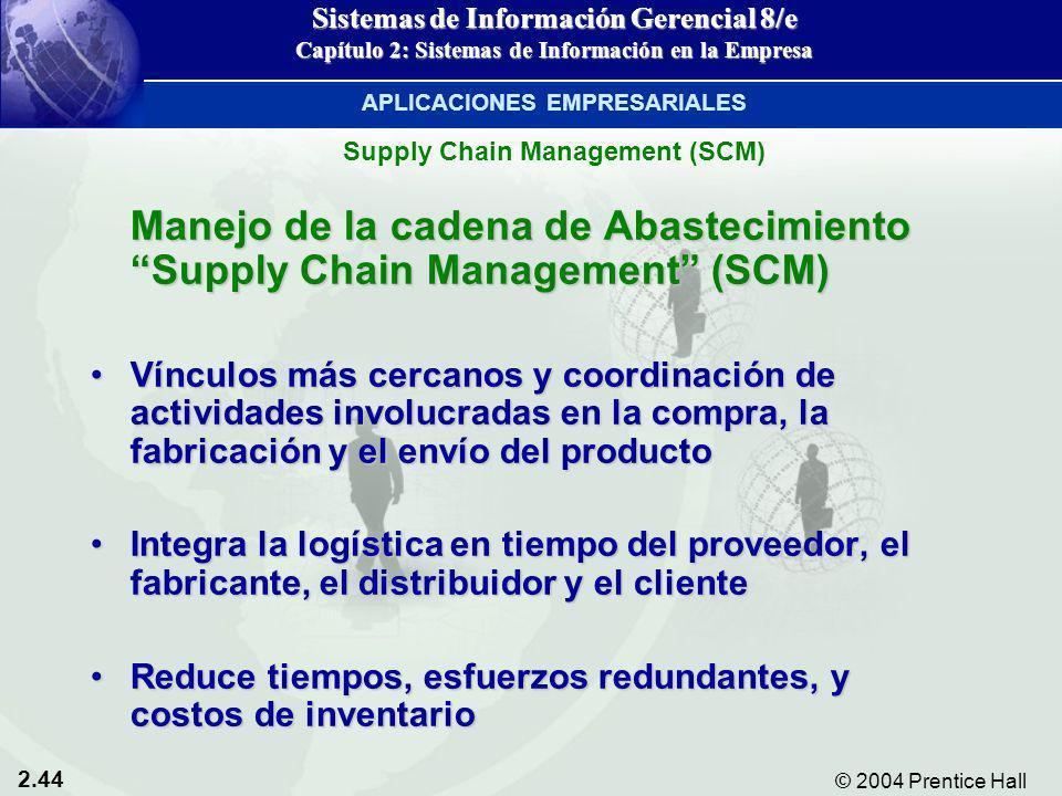 2.44 © 2004 Prentice Hall Sistemas de Información Gerencial 8/e Capítulo 2: Sistemas de Información en la Empresa Manejo de la cadena de Abastecimient