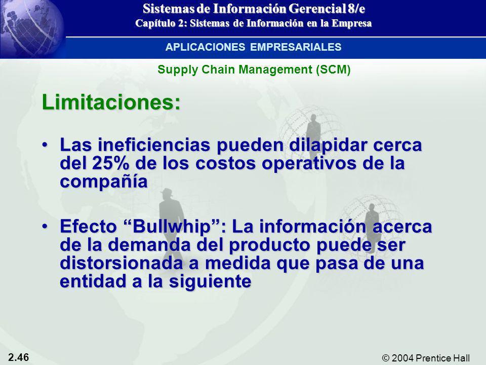 2.46 © 2004 Prentice Hall Sistemas de Información Gerencial 8/e Capítulo 2: Sistemas de Información en la Empresa Limitaciones: Las ineficiencias pued