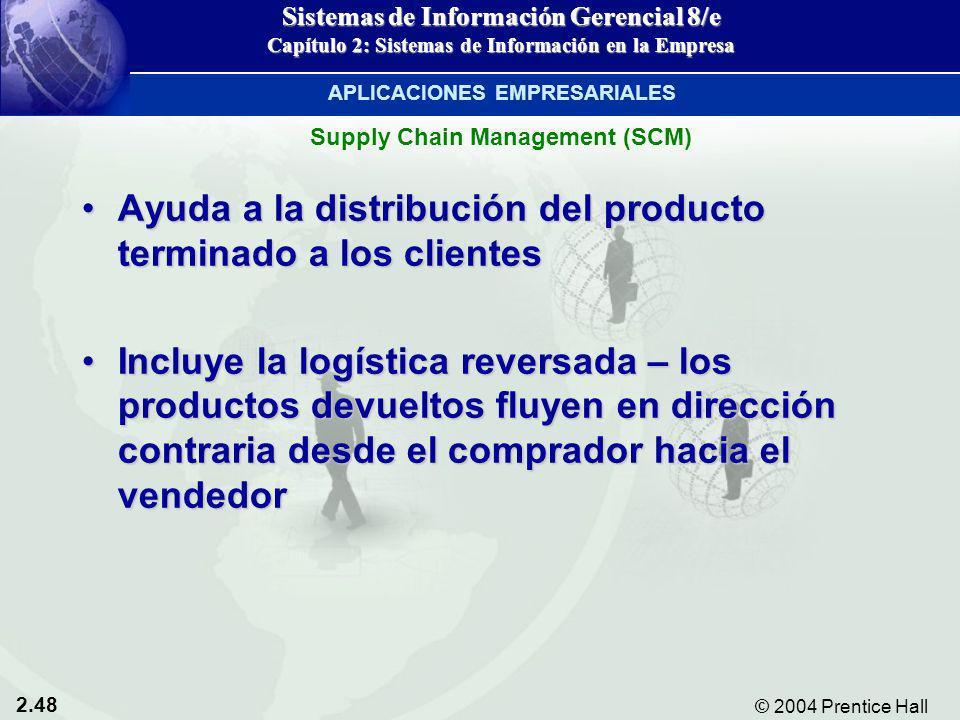 2.48 © 2004 Prentice Hall Sistemas de Información Gerencial 8/e Capítulo 2: Sistemas de Información en la Empresa Ayuda a la distribución del producto