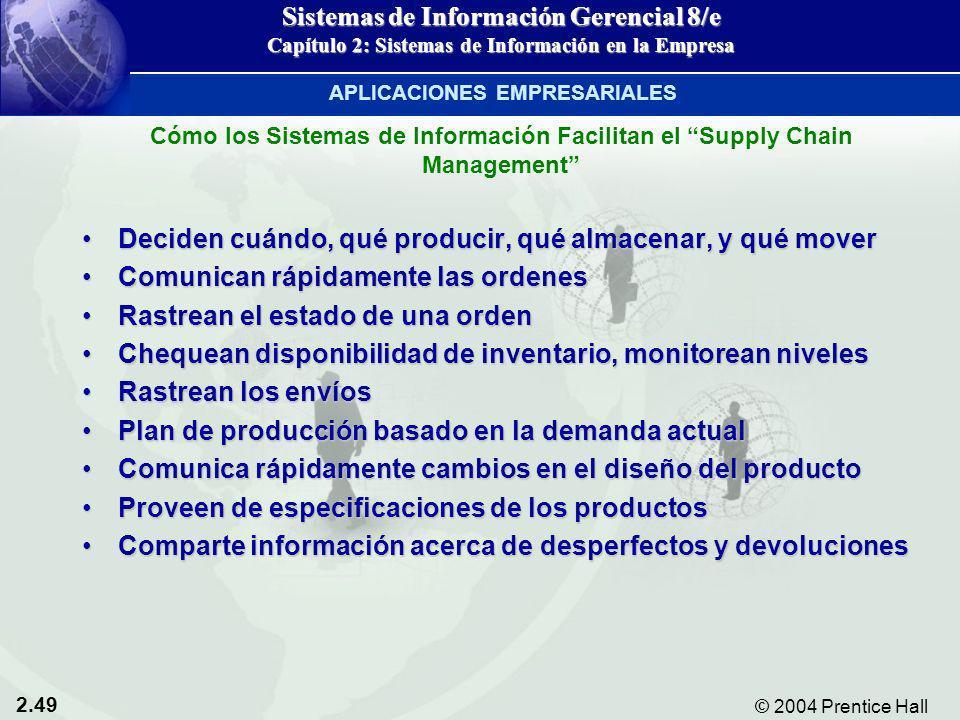 2.49 © 2004 Prentice Hall Sistemas de Información Gerencial 8/e Capítulo 2: Sistemas de Información en la Empresa Deciden cuándo, qué producir, qué al