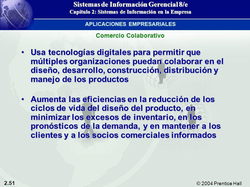 2.51 © 2004 Prentice Hall Sistemas de Información Gerencial 8/e Capítulo 2: Sistemas de Información en la Empresa Usa tecnologías digitales para permi