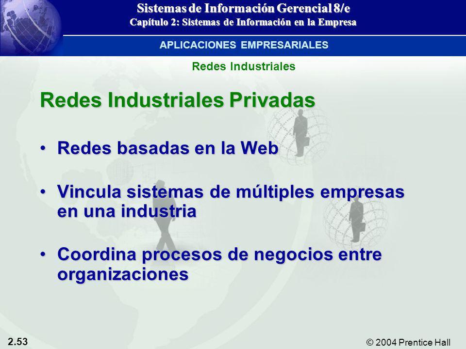 2.53 © 2004 Prentice Hall Sistemas de Información Gerencial 8/e Capítulo 2: Sistemas de Información en la Empresa Redes Industriales Privadas Redes ba