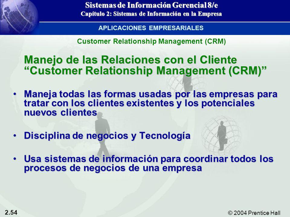 2.54 © 2004 Prentice Hall Sistemas de Información Gerencial 8/e Capítulo 2: Sistemas de Información en la Empresa Manejo de las Relaciones con el Clie