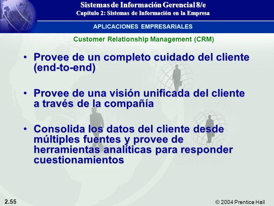 2.55 © 2004 Prentice Hall Sistemas de Información Gerencial 8/e Capítulo 2: Sistemas de Información en la Empresa Provee de un completo cuidado del cl