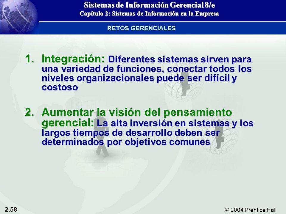 2.58 © 2004 Prentice Hall Sistemas de Información Gerencial 8/e Capítulo 2: Sistemas de Información en la Empresa 1.Integración: Diferentes sistemas s