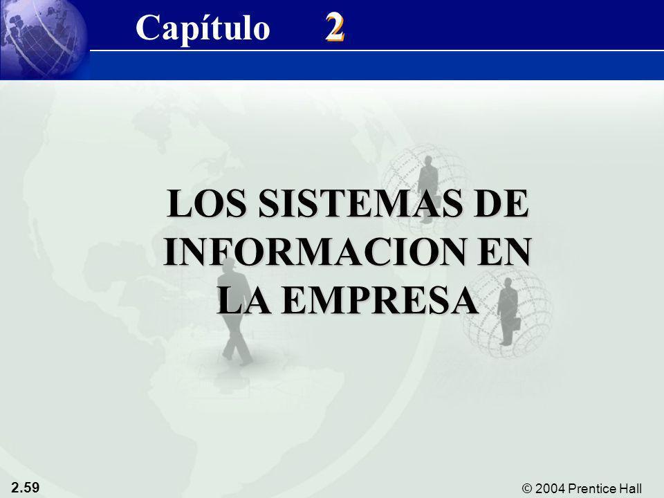 2.59 © 2004 Prentice Hall Sistemas de Información Gerencial 8/e Capítulo 2: Sistemas de Información en la Empresa LOS SISTEMAS DE INFORMACION EN LA EM
